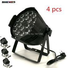 4 PCS Aluminum alloy LED Par 18x18W RGBWA+UV 6in1 LED Par Can Par led spotlight dj projector wash lighting stage lighting