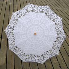 Fashion Sun Lace Umbrella Parasol Embroidery Bride Umbrella White Wedding Umbrella Ombrelle Dentelle Parapluie Mariage SA854(China)