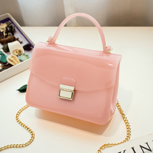 2017 novelty summer PVC jelly candy color small flap bag clear transparent women beach bag mini plastic holiday messenger bag
