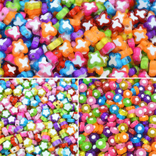 LNRRABC 100pcs/Pack Hot Butterfly Star Plum Flower Jewery DIY Beads Necklace Bracelets Loose Beads Kids Decorative Beads(China)