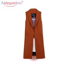 Aelegantmis Fashion Pockets Long Blazer Vest Women Autumn Waistcoat Turn-down Collar Sleeveless Jacket Elegant Office Lady Coat(China)
