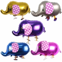 50pc elephant animal balloons four  color blue silver pink purple color for choosing pet walking balloons
