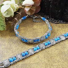 Stone Colorful Free Shipping New Classic Bohemia Tibetan Silver 2016 Fashion Hot Sale Folk-custom Retro Bracelet Gift Women