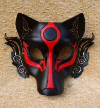 Half Face Leather Japanese Samurai Wolf Head Cosplay Mask Masque for Halloween Party High Quality