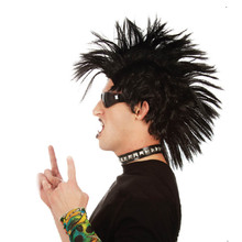 Punk Rock Mohawk Perruque Adult Mens Costume Party Fancy Dress Black Rock Star Style Lion King Pumba Holiday Party Accessories