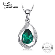 JewelryPalace 3.5 ct Created Emerald Gem Necklaces Genuine Pure 925 Sterling Silver Jewelry 45cm Chain Necklace(China)