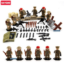 Kaygoo WW2 Soviet Army Snowfield UK Mlitary Figures Toy Russian National Army Special Forces Building Blocks with Weapons D164(China)