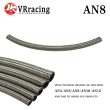 "VR RACING - AN8 8AN AN -8 (11.2MM / 7/16"" ID) STAINLESS STEEL BRAIDED Racing Hose Fuel Oil Line ONE FEET 0.3M VR7113-1"