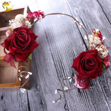 XinYun Yiwu wholesale market Elegant Hand made Red Rose Halo Hair band head band Headwear frontlet Headdress Manufac 89341