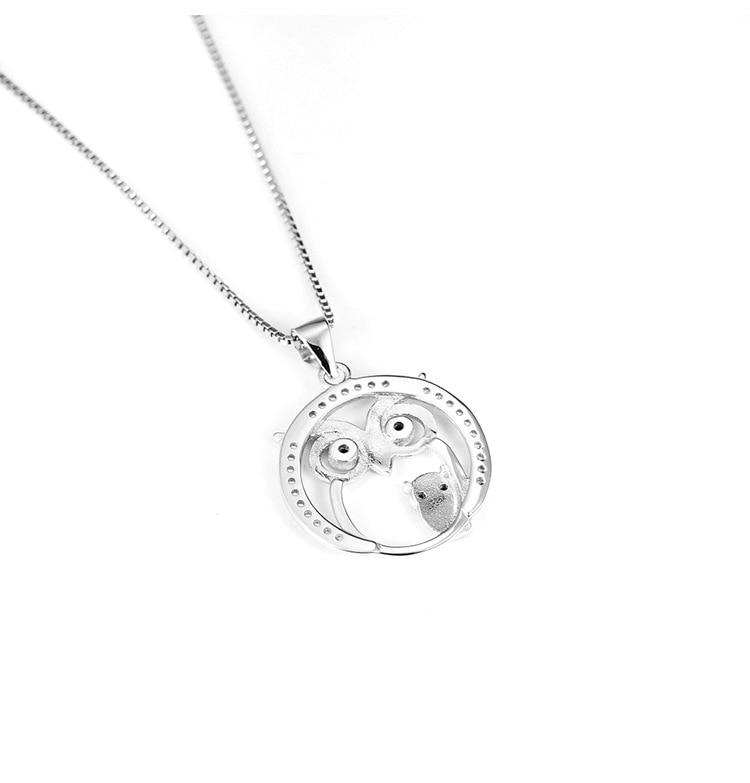 Conjunto de plata ley 925/de cadena y pendientes infantiles de b/úho de cristal con caja de regalo de SL Silver