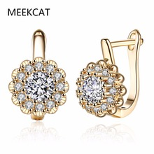 Geometric Cubic Zircon Champagne Gold Stud Earrings for Women Girls 2017 New Arrival Romantic Jewelry Gift Female