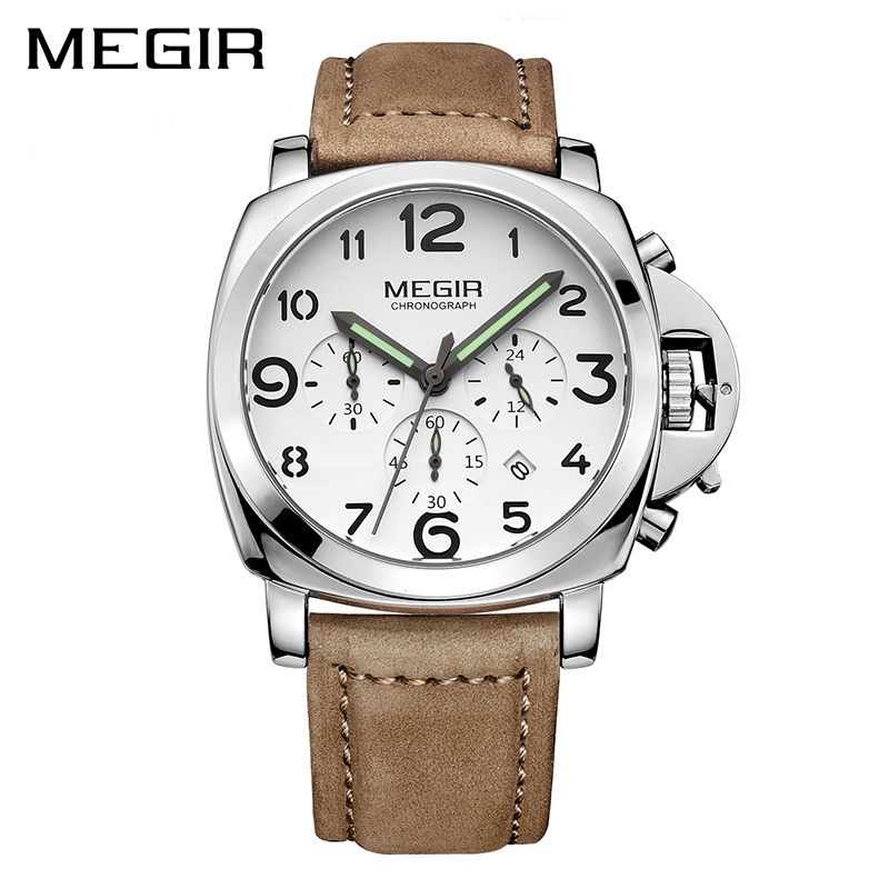MEGIR Clock Men Top Brand Luxury Quartz Men Watch Big Dial Chronograph Military Watches Luminous Relogio Masculino Saat Erkekle<br>