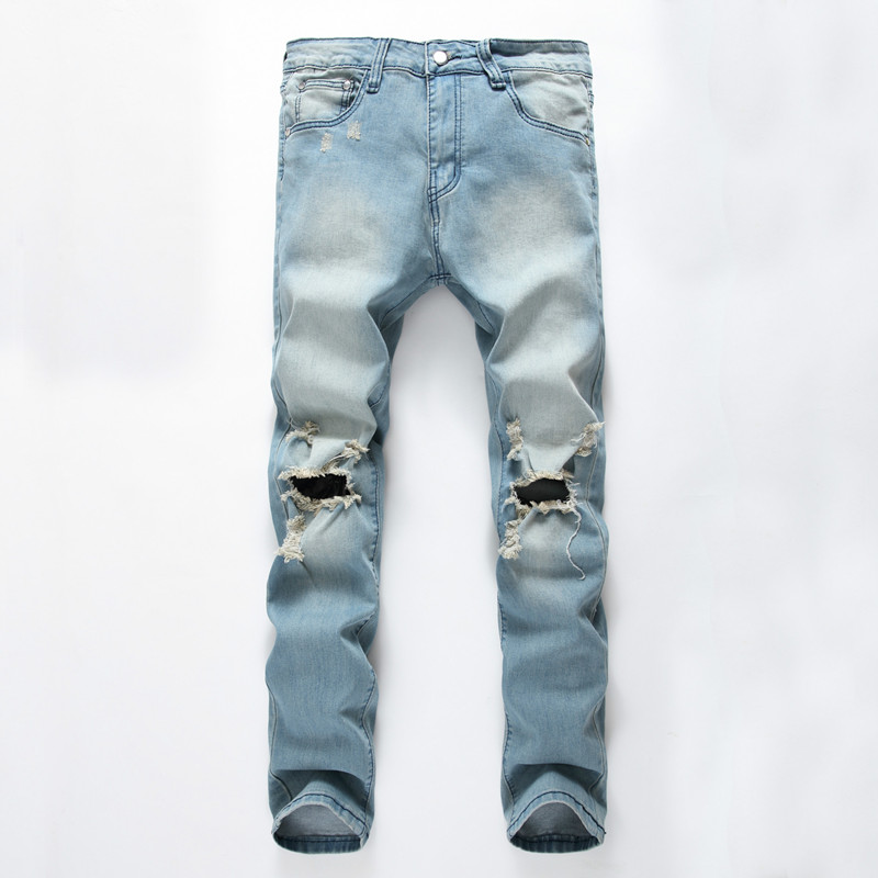 High quality men jeans hole Casual ripped jeans men hiphop pants Straight jeans for men denim trousers fear of god mens jeansОдежда и ак�е��уары<br><br><br>Aliexpress