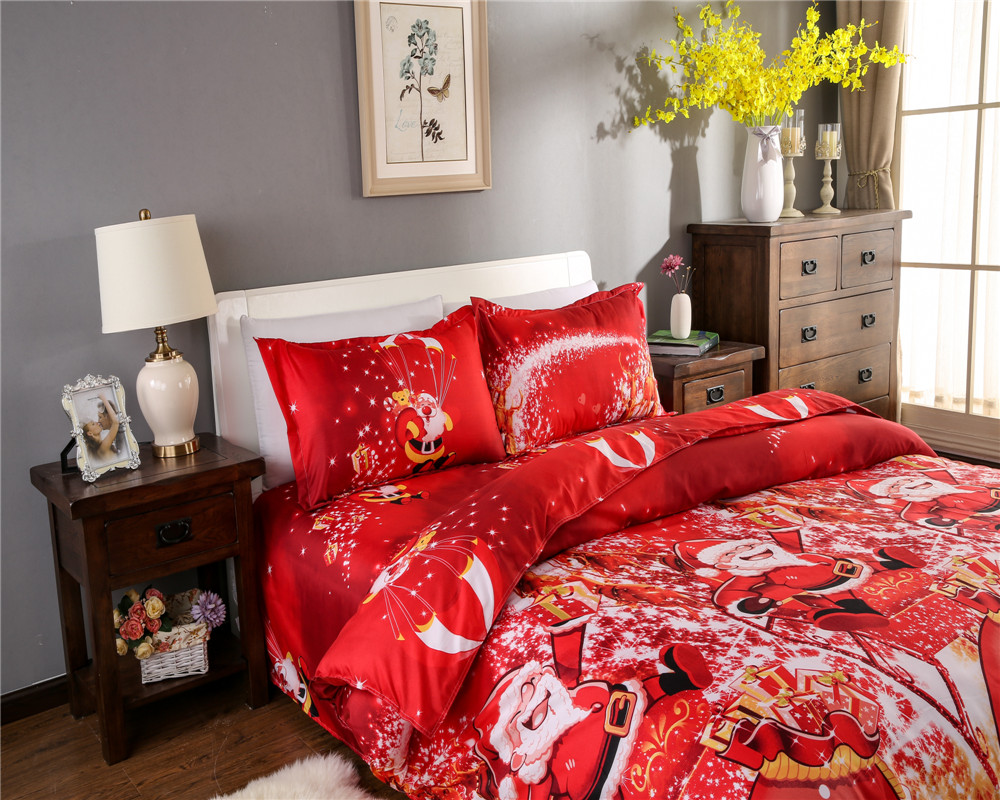 Great For Christmas, Set 4Pcs Christmas Santa Clause, 3D Bedding Set Duvet Cover Set,Sheet, Pillowcase, Sham Covers 8