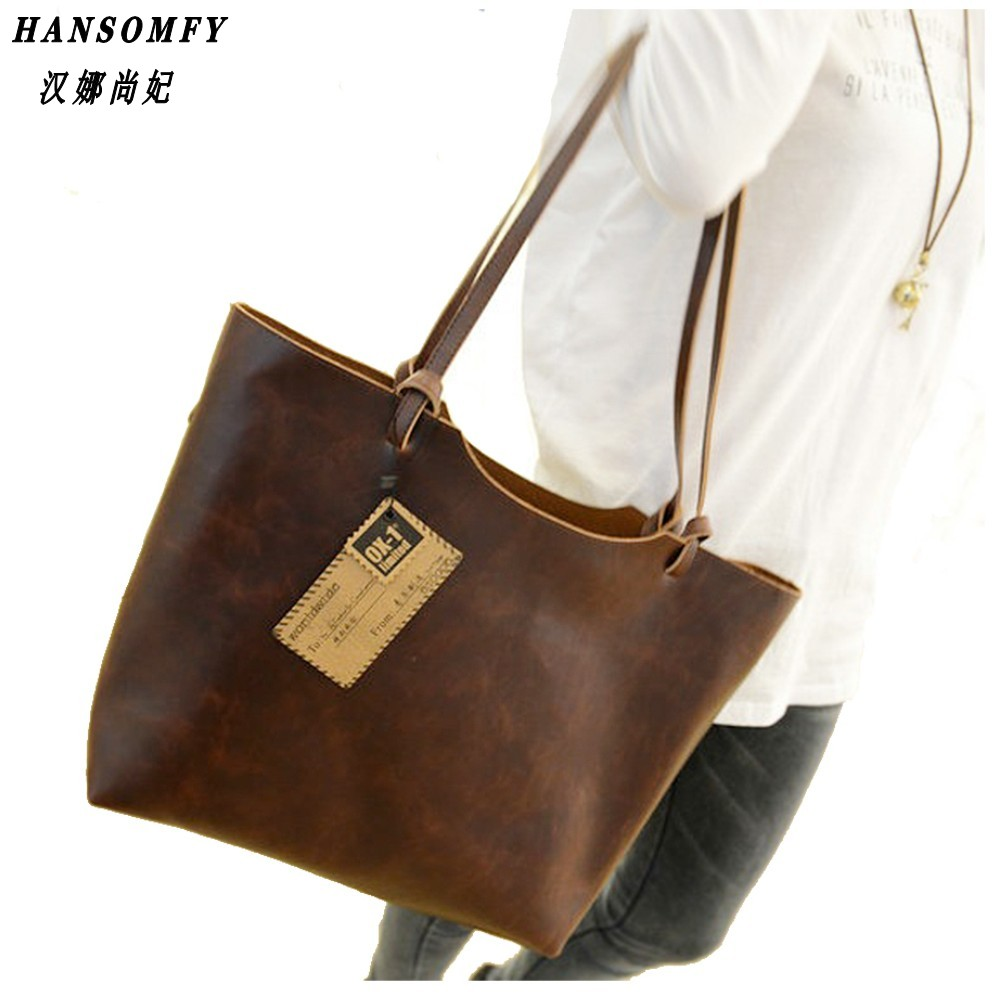 100% Genuine leather Women handbags 2017 New design women handbags vintage women shoulder bags large tote brown women bags<br>