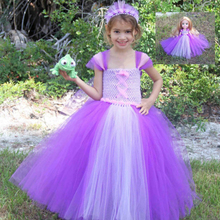 Princess Rapunzel Inspired Baby Girl Clothes for Halloween Cosplay Purple and Lavender Rapunzel Girl Cosplay Tutu Dresses(China)