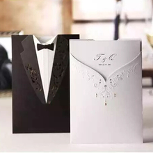 free printing wedding invitation card bride and groom laser cutting cw2011 customized(China)