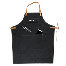 2017 Hot Denim  Bib Cowboy Antifouling leather apron for Woman Men Kitchen Chef Cooking pinafore Uniform Unisex Adult Avental
