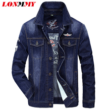 LONMMY 4XL Jeans jacket men Cotton 66% Denim jacket men coats Air force 1 Casual Outerwear cowboy coats New 2017 spring autumn(China)