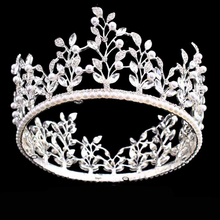 Hot European Silver Leaf Pearls Royal Crowns 2017 Pageant Queen Chic Unique Full Round rhinestones Wedding tiaras and crowns