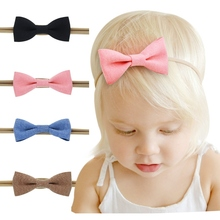4PCS/lot Girls Elastic Headband Solid Fabric Hair Bows Headbands For Kids New Arrival Toddlers Hair Accessories HC94(China)