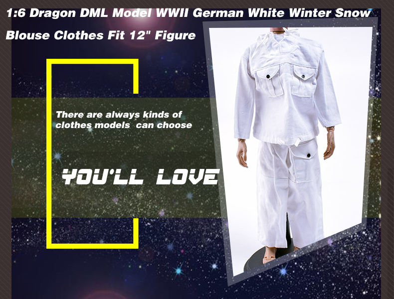 "Dragon 1//6 WWII German White Winter Snow Clothes Jacket /& Pants F 12/"" Figure"