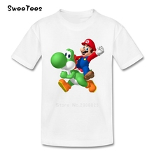 Super Mario Bros Yoshi Boy Girl T Shirt Baby Tees 2017 Infant 100% Cotton Tshirt Crew Neck Kid children's T-shirt For Toddler(China)