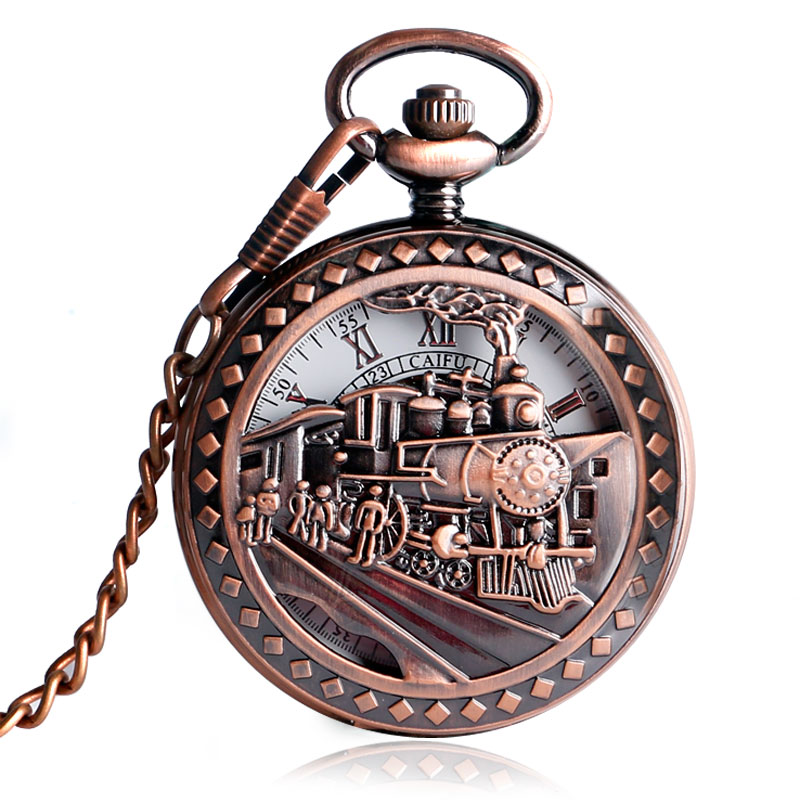 Vintage Exquisite Running Steam Train Pocket Watch Hollow Brown Chain Women Men Railway Mechanical Hand Winding Gift P2034C<br><br>Aliexpress