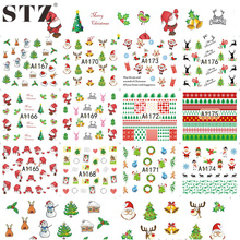 STZ 12designs Xmas New Year Gift Water Transfer Tips Nail Art Sticker Decals Christmas DIY Decor Manicure Styles A1165-1176