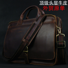 Luxury Genuine Leather Briefcase Men Briefcase Leather Laptop Bag portfolio men Business bag male brief case document office bag(China)