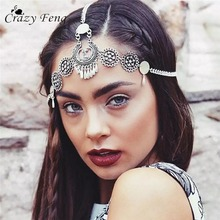 CrazyFeng 2017 Handmade Antique Silver Color Head Chain Tassel Hair Jewelry Indian Bridal Hair Accesories Boho Headband Jewelry