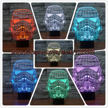 Colorful USB Star Wars Storm Trooper White Soldier 3D Lamp LED Night Light Touch Remote Home Party Cafe Decorative lighting gift