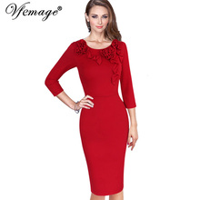 Vfemage Womens Autumn Elegant Vintage 3D Flowers Casual Party Special Occasion Mother Bride Bodycon Fitted Pencil Dress 4125 - Valuefashionshop store