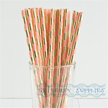 200pcs Coral Stripe Gold Foil Assorted Paper Eco Friendly Straws Baby Birthday Wedding Bridal Shower Party Supplies