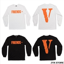 2017ss Vlone Friends POP Upnew Orleans Women Men Long Sleeve t shirt Hiphop Vlone Print sweatshirt t shirts tee 1:1 top quality