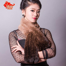 New Women Russia winter Natural handmade rex rabbit scarf dyeing color rabbit hair pom High quality women fur scarf winter 1208