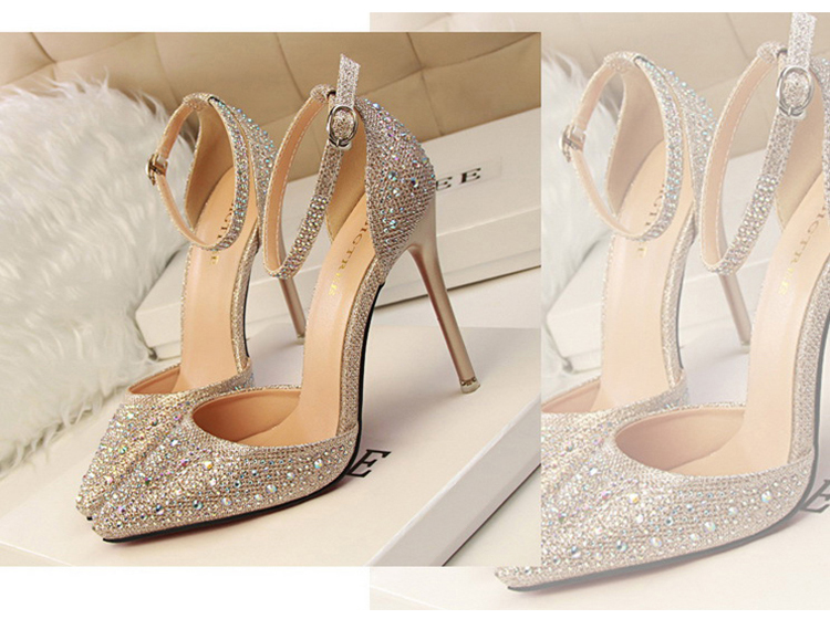 Women Pumps Sexy High Heels Shoes Woman Silver Rhinestone Wedding Shoes High Heels Party Shoes Summer Hight Heels Sandals 3