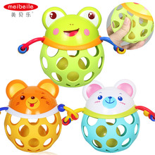 Meibeile learning animails hand bell fitness grasp ball rattles baby toys for education bear frog mouse
