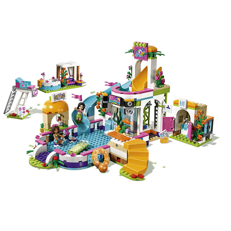 Compatible with Lepine Friends 41313  01013 building blocks The Heartlake Summer Pool Bricks figure toys for children YHG029<br>