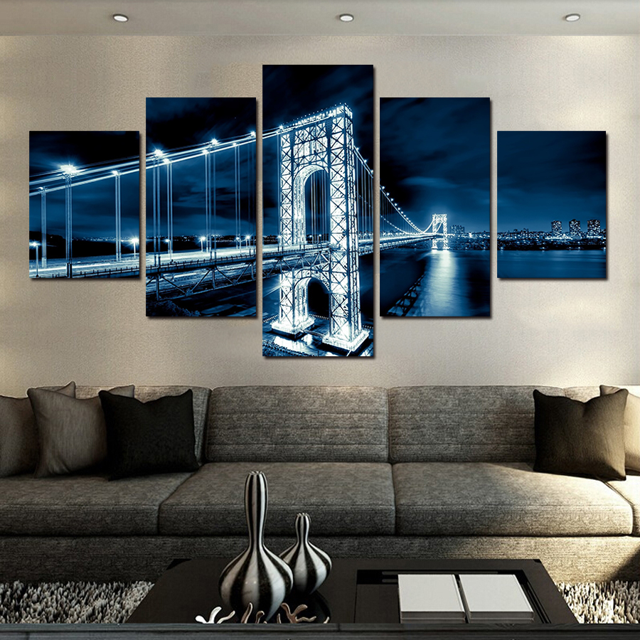 2017 Hot Sale Modern Bridge Nightscape Wall Art Painting Beautiful Tree  Landscape Mountain Seaview Canvas Pictures Part 95