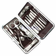 Portable 15pcs Manicure Set Pedicure Scissor Tweezer Knife Ear pick Utility Nail Clipper Kit Stainless steel Nail Care Tool Sets