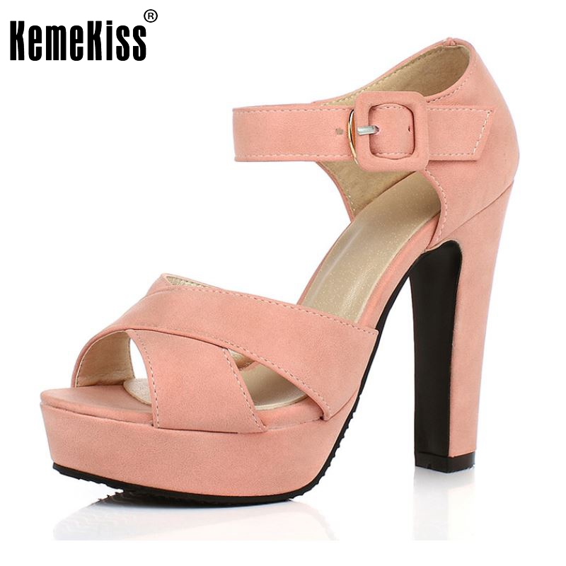 Peep Toe Ankle Strap Thick High Heel Sandals Platform Ladies Shoes Women Brand Dress Footwear Sandal Mujer size 32-43 PA00665<br><br>Aliexpress
