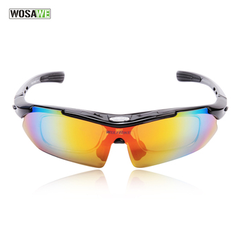 WOSAWE Professional Black cycling glasses racing motorcycle sports safety sunglasses bike sunglasses bicycle goggles 5lens/3lens