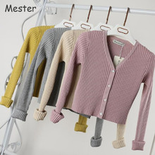 Women Slim V Neck Knitted Cardigan Long Sleeve Cropped Cardigan Sweaters Ladies Solid Shrugs for Women Short Cardigans Candy(China)