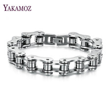 YAKAMOZ Top Quality Motor Bike Titanium Chain Fashion Style Stainless Steel Men  Bracelets & Bangles for Men Jewelry Gift