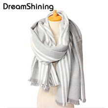 DreamShining Women Winter Scarf Wool Blend Thicken Cotton Warmth Soft Striped Shawls And Scarves Luxury Brand Scarf