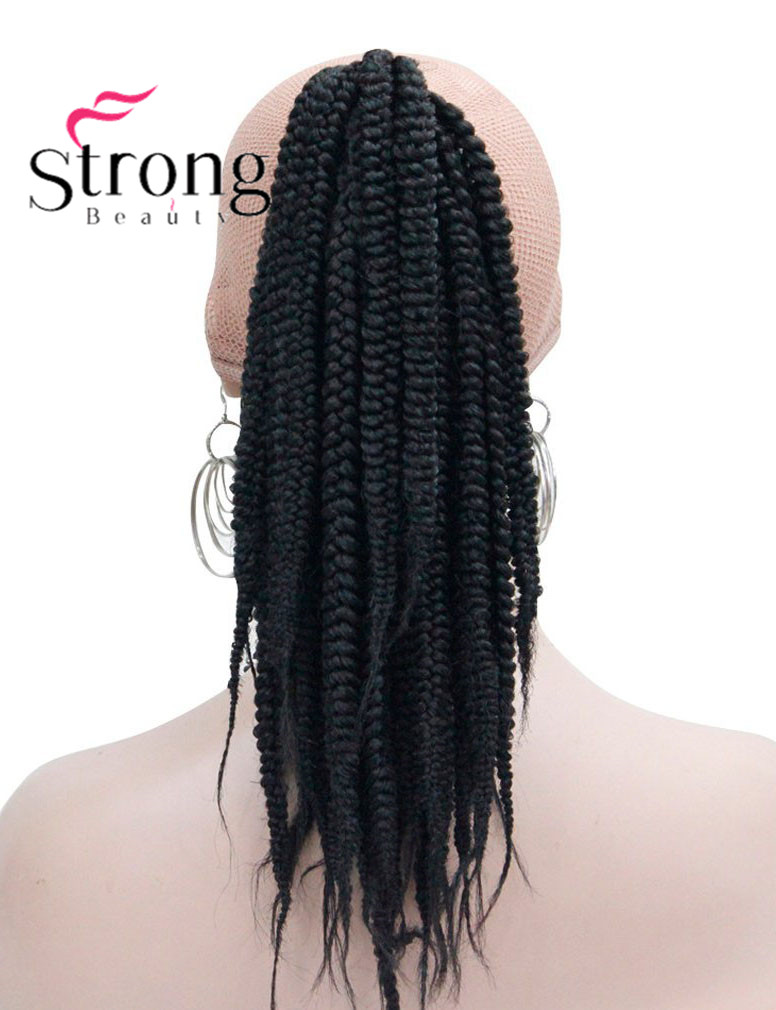 Long Afro Kinky Curly Crochet Twists Braids Ponytail Hair Extension Synthetic HairPiece with Jaw Claw Clip (Black) (1)