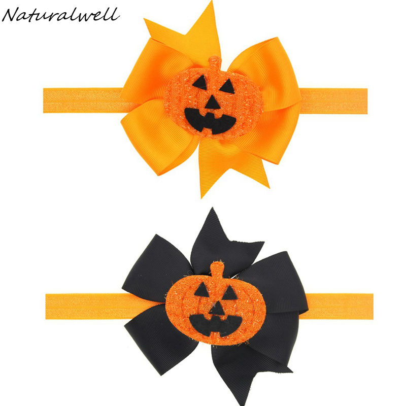 Naturalwell Little girls pumpkin headband Halloween bow headbands orange and black bow photo prop girls halloween hairband HB596(China (Mainland))