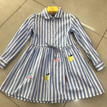 New arrival 2017 Autumn girls dress,girls stripy blue cotton dress with embroided for 12-170cm tall baby(China)