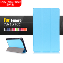 Ultra Slim Flip Magnetic Leather Folding Stand Cover Case For Lenovo Tab 2 A8 A8-50 A8-50F A8-50LC 8.0 tablet case Free Delivery(China)